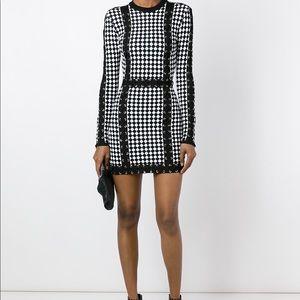 BALMAIN Long-Sleeve Harlequin-Print Mini Dress,